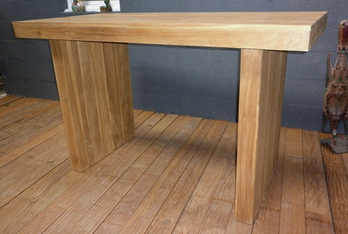 tables hautes|table en teck - table haute - mange debout en teck